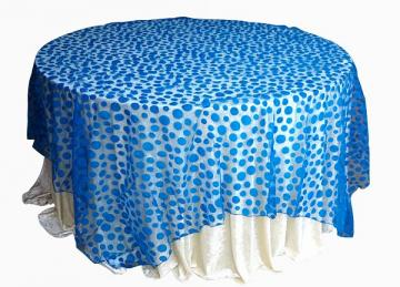 Flock Polka Dot Organza Overlays - Royal Blue