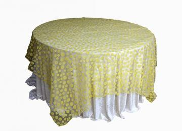 Flock Polka Dot Organza Overlays - Yellow