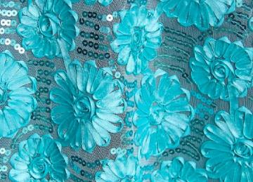 Flower Sequin Cloths 90x90 - Turquoise