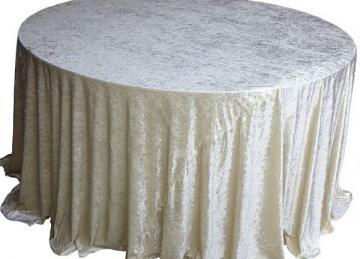 Crushed Velvet Table Cloths 132 Round - Ivory
