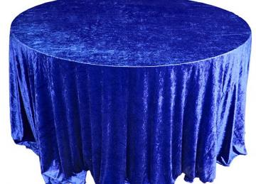 Crushed Velvet Table Cloths 132 Round - Royal Blue