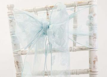 Organza Butterfly Sash - Light Blue