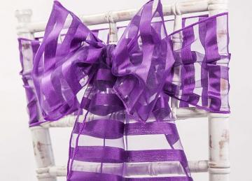 Vertical Striped Organza Sashes - Purple