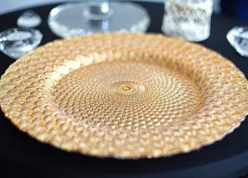 Charger Plate Glass Peacock Design - Gold