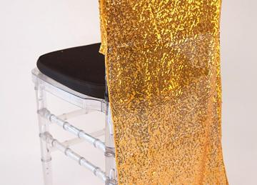 Sequin Chair Caps Full Length - Copper/Gold