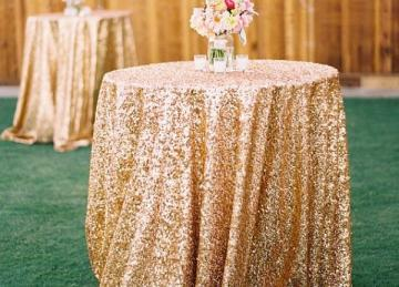 Sequin 132 Table Cloth - Gold
