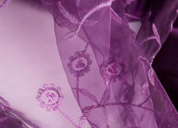 Sheer Plum Overlay With Satin Border