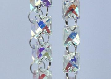 Iridescent 14mm Square Glass Crystal Garland Strand