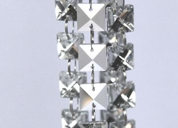 Silver 14mm Glass Square Crystal Garland Strand