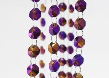 Purple/Gold 14mm Crystal Garland Strand