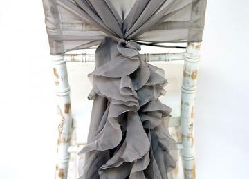 Chiffon Hood with Ruffles - Platinum