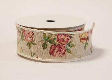 Burlap Rose Print Ribbon - 3.8cm x 10 yard