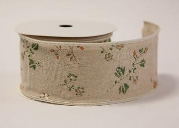 Burlap Floral Print Ribbon - 3.8cm x 10 yards