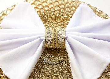 Gold Diamante Band Napkin Ring - 6 Pack