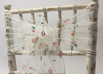 Floral Embroidered Organza Sash