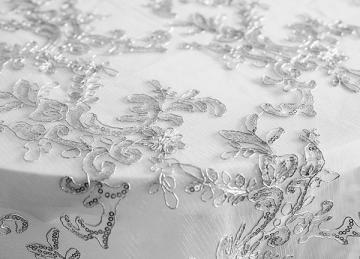 Designer Embroidered Overlay - Silver