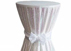 Sequin 120 Table Cloth - White Iridescent