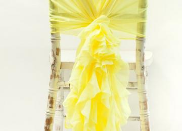 Chiffon Hood with Ruffles - Lemon