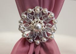 Silver Pearl Flower Brooch TX3341 - 6 Pack