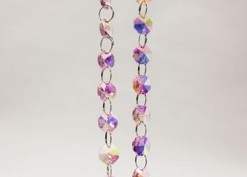 Glass Crystal Garland Strand 14mm/1M - Pink Iridescent