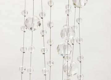 Wired Crystal Curtain With Clear Round Beads