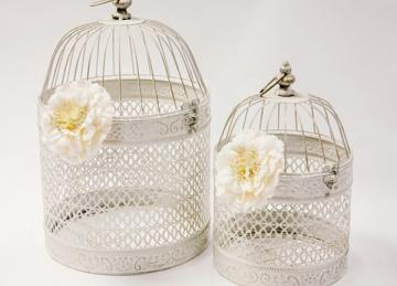Vintage Rustic Birdcage Set of 2 - Cream