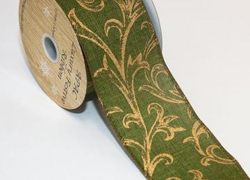 Green Ivy Print Ribbon