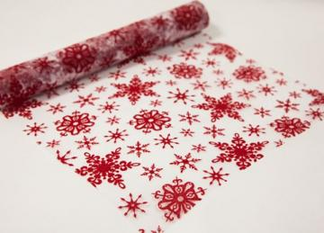 Xmas Flock Red/White Snowflake Fabric Roll 30cm x 5m