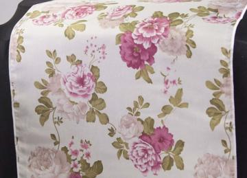 Vintage Cabbage Rose Print Taffeta Table Runner