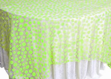 Flock Polka Dot Organza Overlays - Apple Green