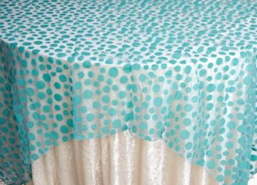Flock Polka Dot Organza Overlays - Pool Blue