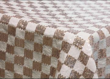 Checked Sequin Tablecloth 90 x 90 - Champagne