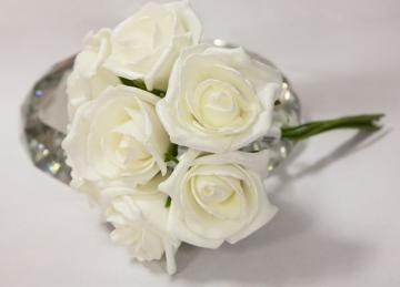 Shimmer Foam Roses 6 Bunches - Ivory