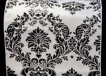 Taffeta Table Runner - Black/White