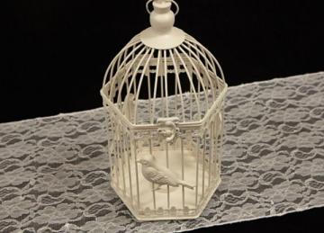 Hexagonal Medium Ivory Birdcage - 33CM