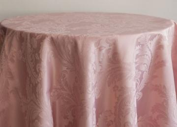 Damask Table Cloths 132 Round - Blush Pink