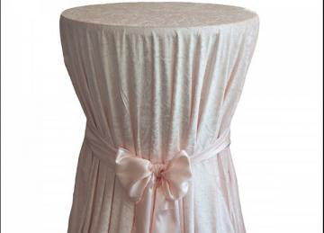 Crushed Velvet Table Cloths 132 Round - Blush Pink