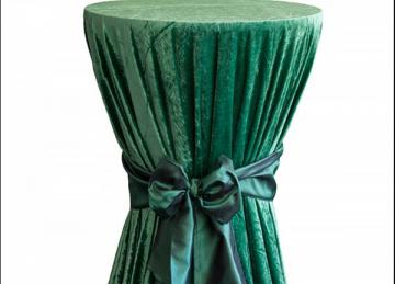 Crushed Velvet Table Cloths 132 Round - Hunter