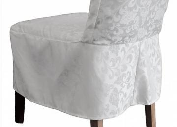 Short Damask Dining Chair Cover RJ13 - White