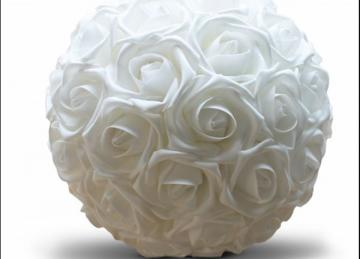 Foam Rose Kissing Ball - White