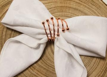 Spiral Metal Napkin Rings Rose Gold - 6 Pack