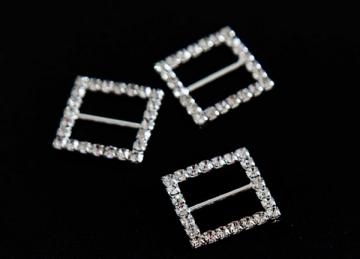 Decorative Diamante Buckles 10 Pack - Square