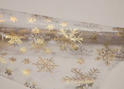 Organza Roll SR3 - White/Gold Snow Flake