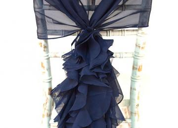 Chiffon Hood with Ruffles - Navy