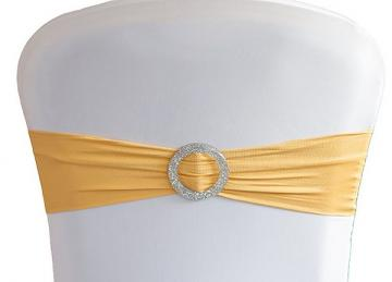 Lycra Chair Bands With Buckle - Gold