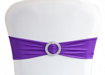 Lycra Chair Bands With Buckle - Purple