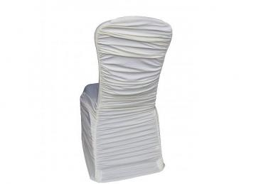 Ruched Lycra Chair Cover with Elasticated Pocket - Ivory