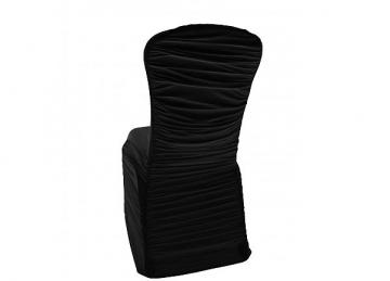 Ruched Lycra Chair Cover with Elasticated Pocket - Black