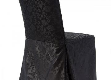Damask Dining Chair Covers RJ04 - Black