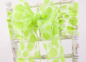 Flock Organza Polka Sash 20cm x 275cm - Apple Green